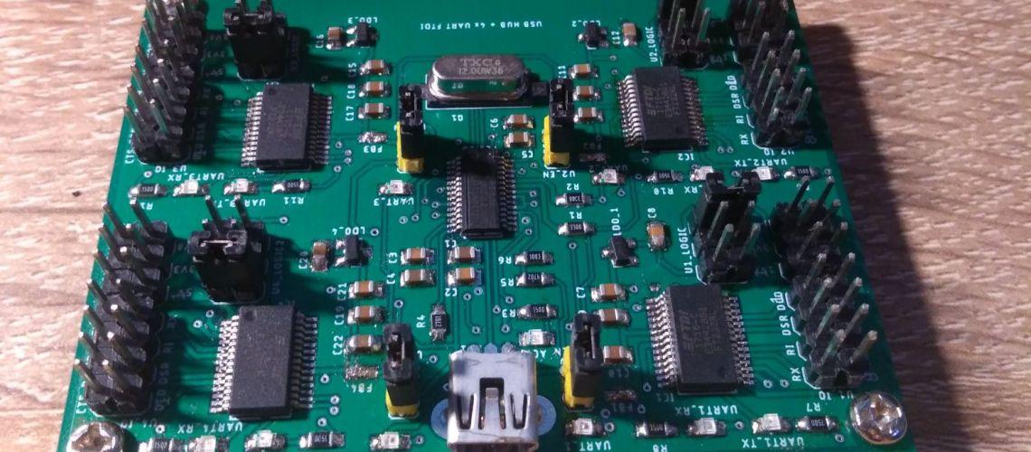 4 kanálový USB to UART prevodník s USB hubom