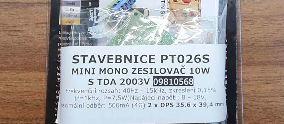 Stavebnica PT026S mini mono zosilňovač s TDA2003V